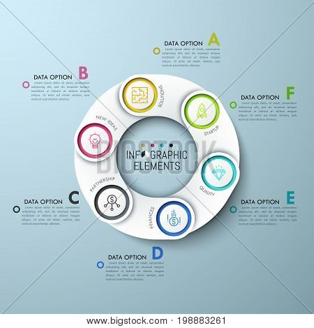 Circular diagram with 6 paper white overlaying elements, icons and lettered text boxes. Six tips for successful finance attraction. Unique infographic design layout. Vector illustration for report.