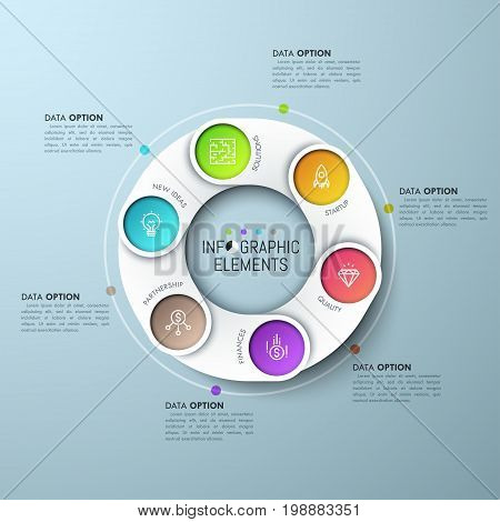 Annular diagram with 6 paper white overlapping parts, icons on colored background and text boxes. Six features of business development concept. Infographic design template. Vector illustration for ad.