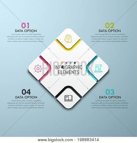 Diamond-shaped chart with 4 sectoral elements, thin line pictograms and numbered text boxes. Four service options to choose concept. Infographic design template. Vector illustration for website menu.