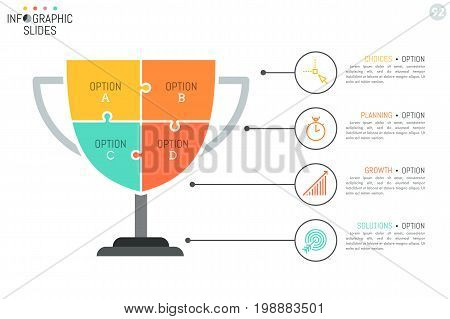 Simple infographic design layout in shape of winner's cup divided into 4 puzzle pieces connected with icons and text boxes. Four features of success concept. Vector illustration for presentation.