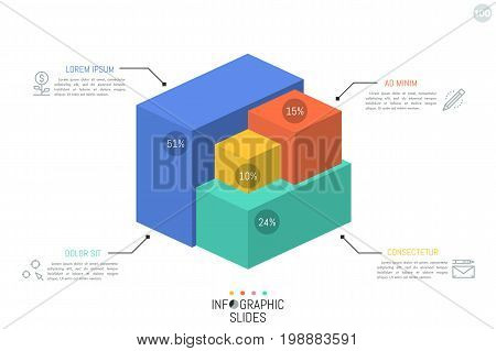 3d chart. 4 colorful volumetric blocks of different size and percentage indication connected with text boxes and thin line icons. Simple infographic design template. Vector illustration for report.