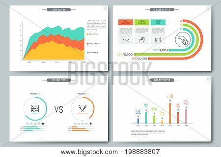 Minimal infographic brochure template. Pages with comparison diagram, line graph, bar progress and circular chart elements. Business data visualization concept. Vector illustration for presentation.
