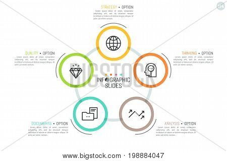 Round diagram with 5 colorful circular elements, pictograms inside them and text boxes. Minimal infographic design template. Business organization scheme concept. Vector illustration for presentation.