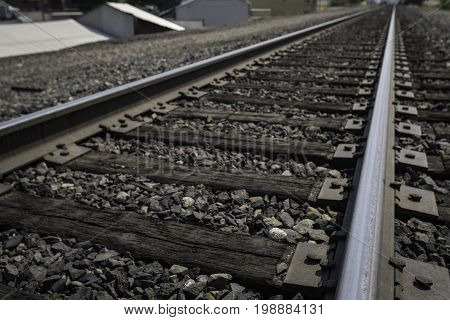 Angled shot of old wooden railroad tracks