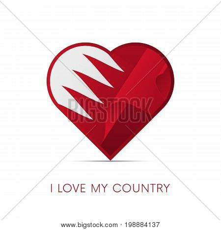 Bahrain flag in heart. I love my country. sign. Vector illustration.