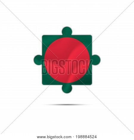 Isolated piece of puzzle with the Bangladesh flag. Vector illustration.