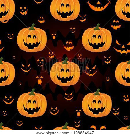 Abstract seamless pattern for girls, boys, kids, halloween, clothes. Creative vector background with pumpkin, scary face. Funny wallpaper for textile and fabric. Fashion style. Colorful bright.