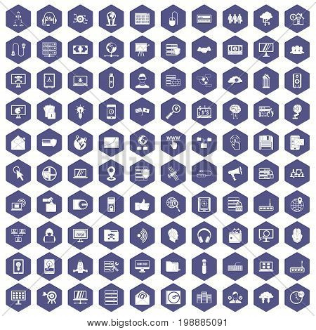100 cyber security icons set in purple hexagon isolated vector illustration