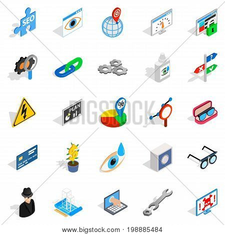 Technology of the future icons set. Isometric set of 25 technology of the future vector icons for web isolated on white background