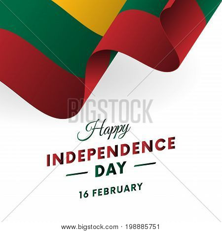 Lithuania Independence Day. 16 February. Waving flag. Vector illustration.