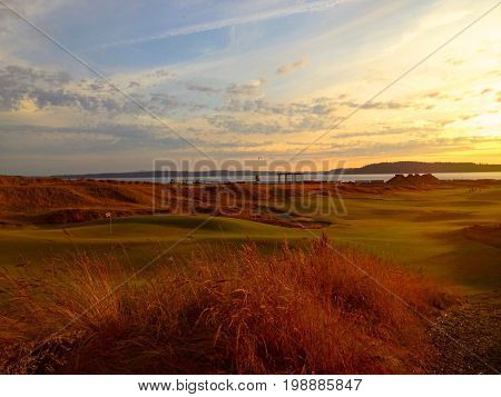 Spectacular sunset on golf course near Puget Sound in Washington State