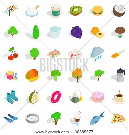 Vegetarian burger icons set. Isometric style of 36 vegetarian burger vector icons for web isolated on white background