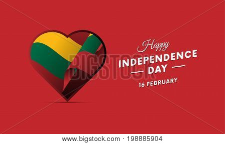 Lithuania Independence Day. 16 February. Waving flag in heart. Vector illustration.