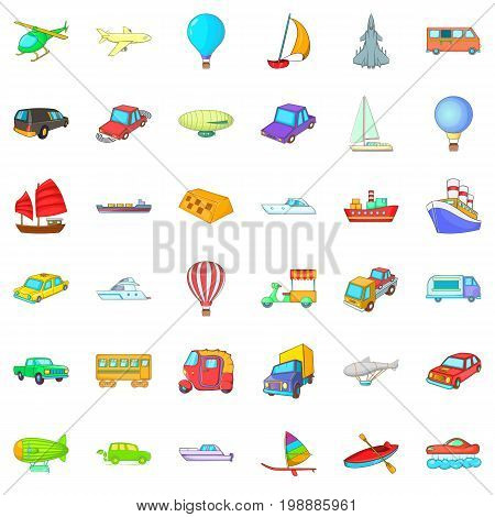 Different vehicle icons set. Cartoon style of 36 different vehicle vector icons for web isolated on white background