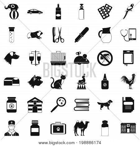 Veterinary doctor icons set. Simple style of 36 veterinary doctor vector icons for web isolated on white background