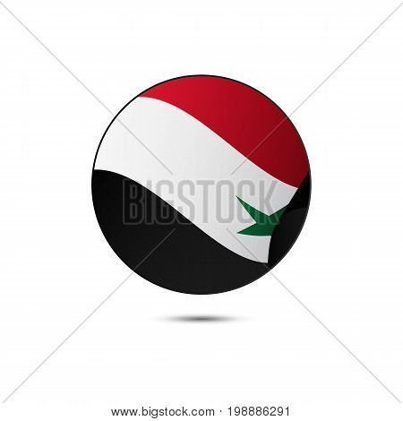 Syria flag button with shadow on a white background. Vector illustration.