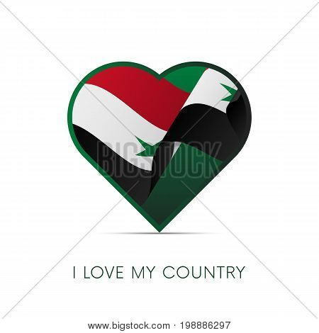 Syria flag in heart. I love my country. sign. Vector illustration.