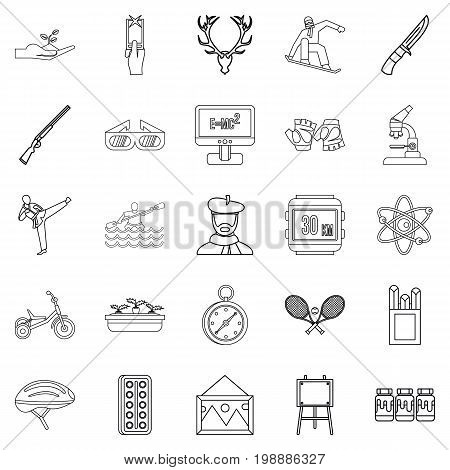 Fun on the water icons set. Outline set of 25 fun on the water vector icons for web isolated on white background