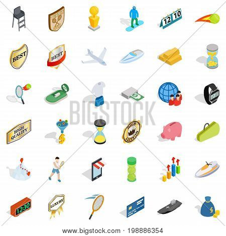 Sport victory icons set. Isometric style of 36 sport victory vector icons for web isolated on white background