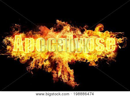 Word apocalypse in burning flames on black background