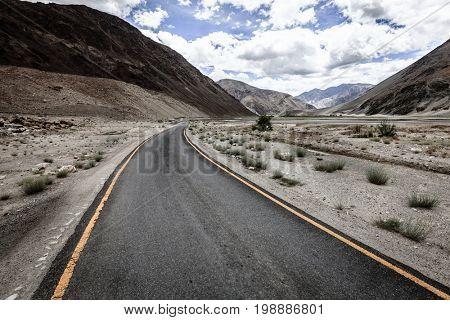 Road to Lake Tso Moriri in Ladakh mountains of Kashmir, India
