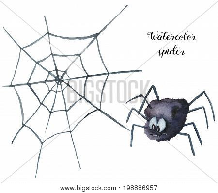 Watercolor spider. Hand painted helloween illustration isolated on white background. Magic character with web  for design, print or background