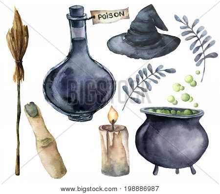 Watercolor helloween magic set. Hand painted bottle of poison, cauldron with potion, broom, candle, finger, witch hat and floral branch isolated on white background. Holiday illustration for design