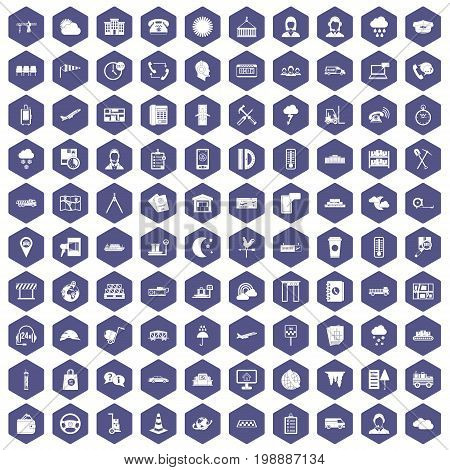 100 dispatcher icons set in purple hexagon isolated vector illustration