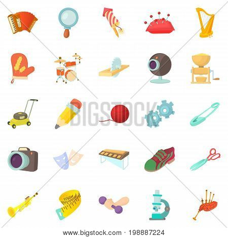 Sports hobby icons set. Cartoon set of 25 sports hobby vector icons for web isolated on white background