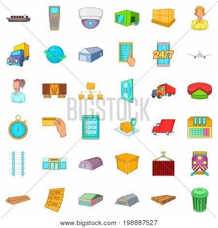 Cargo icons set. Cartoon style of 36 cargo vector icons for web isolated on white background