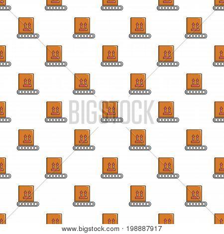 Conveyor belt with box pattern in cartoon style. Seamless pattern vector illustration