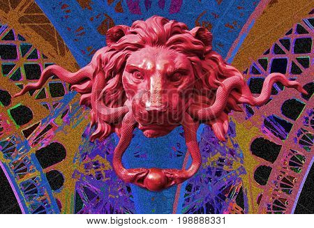 abstract illustration,colorful lion-head,snakes,background frame,red lion, compostite, dream-like