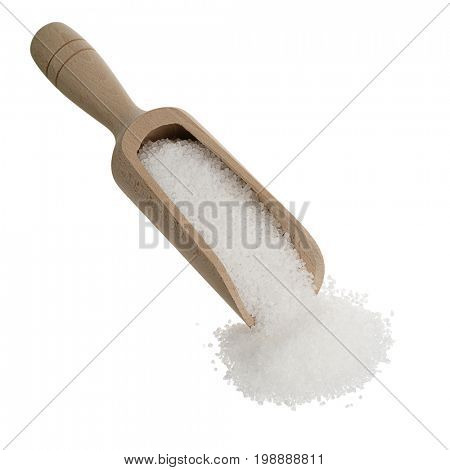 Salt on wooden spoon isolated on white background.