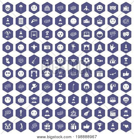 100 emotion icons set in purple hexagon isolated vector illustration