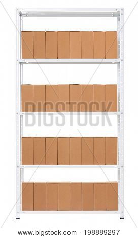 Rack with identical boxes aligned in a row, isolated object photo on white background