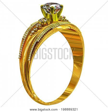 Gold ring engagement with diamond gem. luxury jewellery bijouterie with gemstone for people in love . Brilliance of gold and diamonds on isolated. 3D rendering.