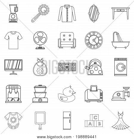Large dining room icons set. Outline set of 25 large dining room vector icons for web isolated on white background