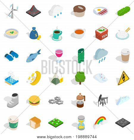 Cold winter icons set. Isometric style of 36 cold winter vector icons for web isolated on white background