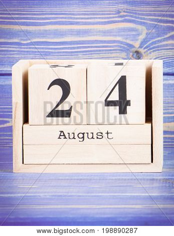 August 24Th. Date Of 24 August On Wooden Cube Calendar
