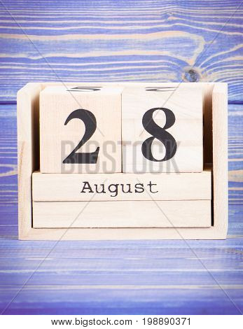 August 28Th. Date Of 28 August On Wooden Cube Calendar