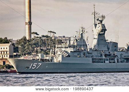 SYDNEY AUSTRALIA - October 5th. 2013: Warship HMAS Perth at the Australian Navy Centenary Celebrations. Sydney Harbour New South Wales Australia.