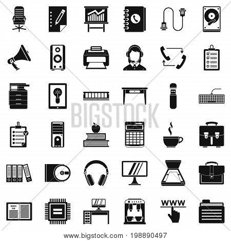 Work folder icons set. Simple style of 36 work folder vector icons for web isolated on white background