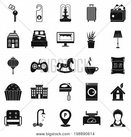Small house for rest icons set. Simple set of 25 small house for rest vector icons for web isolated on white background