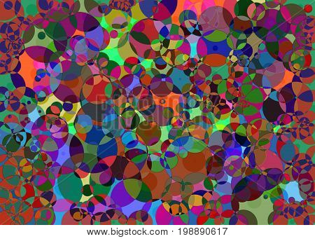 multicolored illustration,circular figures, wildly colored,dreamlike, background,energetic,fantasy, busy