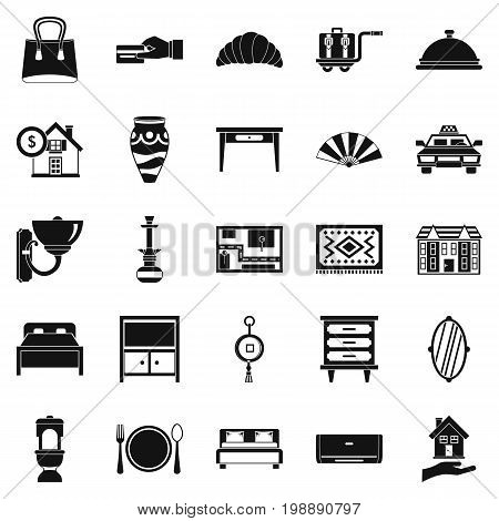 Tourist house icons set. Simple set of 25 tourist house vector icons for web isolated on white background