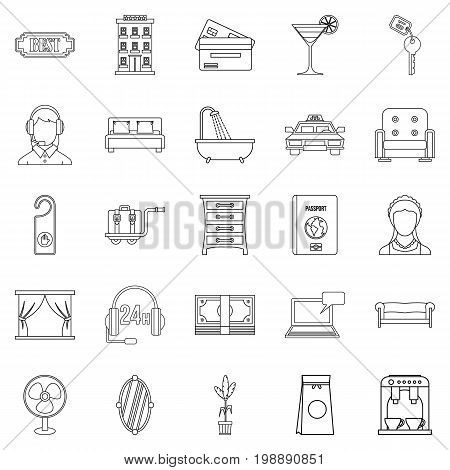 Lodging icons set. Outline set of 25 lodging vector icons for web isolated on white background