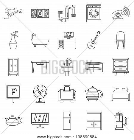 Lodging house icons set. Outline set of 25 lodging house vector icons for web isolated on white background