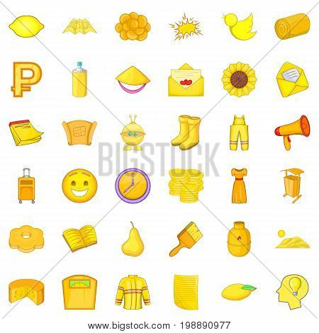 Yellow thing icons set. Cartoon style of 36 yellow thing vector icons for web isolated on white background