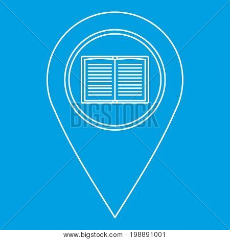 Geo tag with book sign icon blue outline style isolated vector illustration. Thin line sign