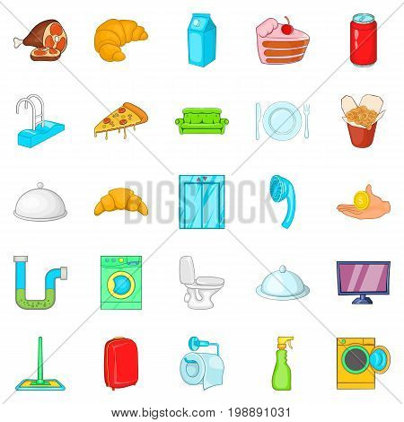Hotel room icons set. Cartoon set of 25 hotel room vector icons for web isolated on white background